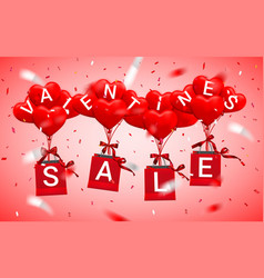 sale happy valentines day background red balloon vector image