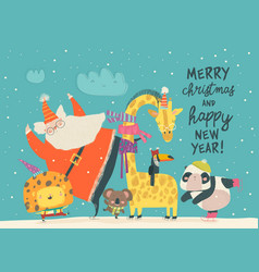 santa claus skating with lion giraffepanda and vector image