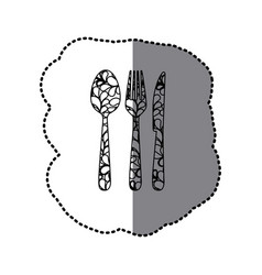Scale contour cutlery tools icon vector
