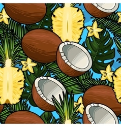 seamless coconut and pineapple vector image