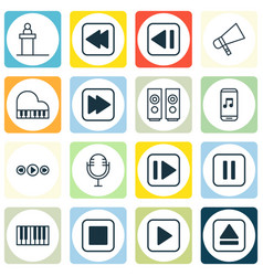 Set of 16 multimedia icons includes music control vector
