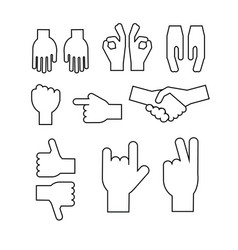 Set of abstract hands different gestures vector