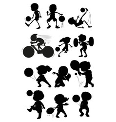 set of silhouette athlete character vector image