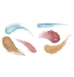 Skin foundation smear brush strokes beauty makeup vector