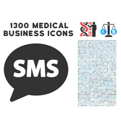sms balloon icon with 1300 medical business icons vector image