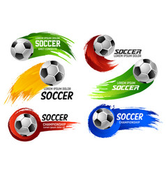 soccer football ball sport game emblems vector image