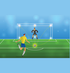 Soccer player in action penalties on stadium vector