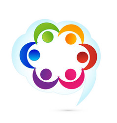 social people in a cloud commentary logo vector image