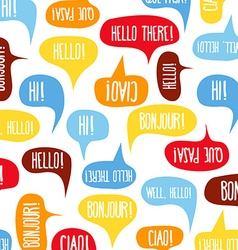 Speech bubbles with Hello on different languages vector image