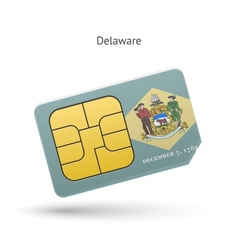 State of Delaware phone sim card with flag vector