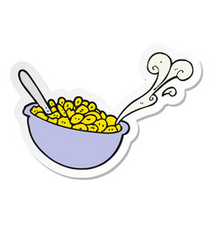 Sticker of a cartoon bowl of cereal vector
