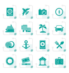 stylized tourism and travel icons vector image