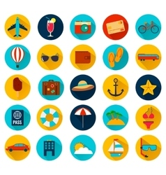 Summer holiday flat icons with long shadow vector image