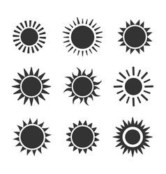 sun flat icon set on white background vector image vector image