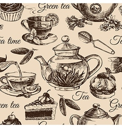 Tea and cake seamless pattern Hand drawn sketch vector