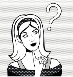Thinking woman looking up Hand drawn vector image