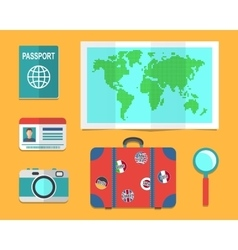 Travelers suitcase earth map passports vector image
