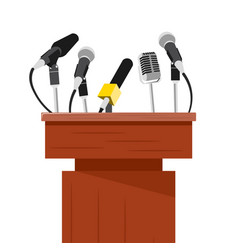 tribune with microphones prepared for conference vector image