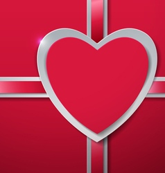 Valentines Day Heart cut from Paper with Ribbon vector
