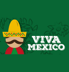 viva mexico traditional card vector image