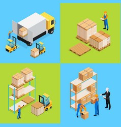 Warehouse isometric compositions vector