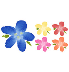 Watercolor painting of flowers in five colors vector