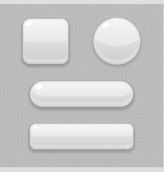 White buttons 3d web icons on gray background vector