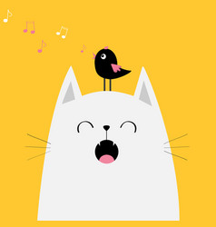 White cat face silhouette meowing singing song vector