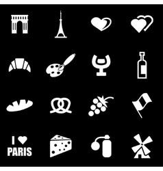 white paris icon set vector image