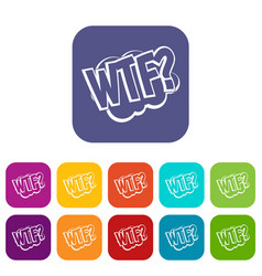 Wtf comic book bubble text icons set flat vector