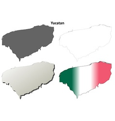 Yucatan blank outline map set vector image