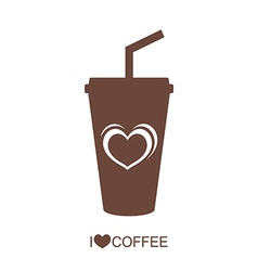 Coffee mug with heart vector image