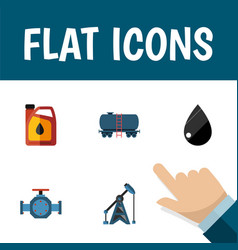 flat icon petrol set of jerrycan flange vector image vector image