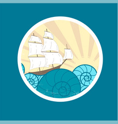 badge with waves and ship vector image vector image
