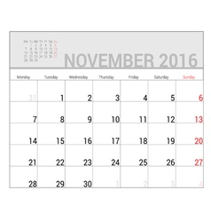 planners for 2016 november vector image
