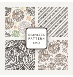 Set of seamless hand-drawn patterns of vector image vector image