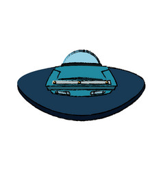 ufo spaceship icon in cartoon style on a white vector image