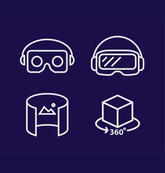 vr glasses for smartphone line vector image