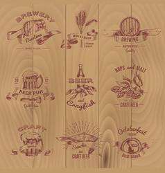 beer vintage design emblems set vector image vector image