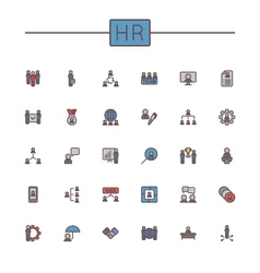 Colored HR Line Icons vector image