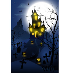 halloween background with haunted house tombs vector image
