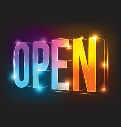 neon sign open illuminated neon billboard vector image
