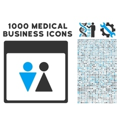 WC Persons Calendar Page Icon With 1000 Medical vector image
