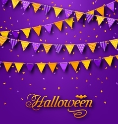Halloween party background with hanging triangular vector