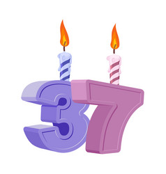 37 years birthday number with festive candle for vector