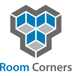 3d isometric empty room corners symbol vector
