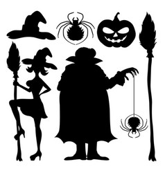 a set of halloween elements vector image