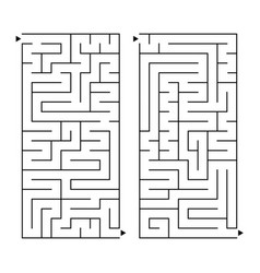 a set of rectangular simple labyrinths an vector image