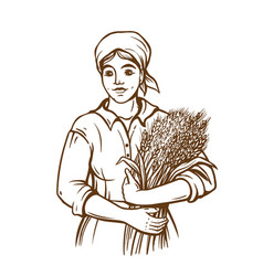 A woman in a dress holds a sheaf of fresh wheat vector