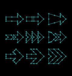 Arrows in the form of lines dots connected hud vector